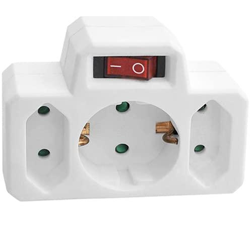 ORNO AE-13191(GS) Enchufe Multiple Conexiones Schuko con Dos enchufes Euro y con Interruptor