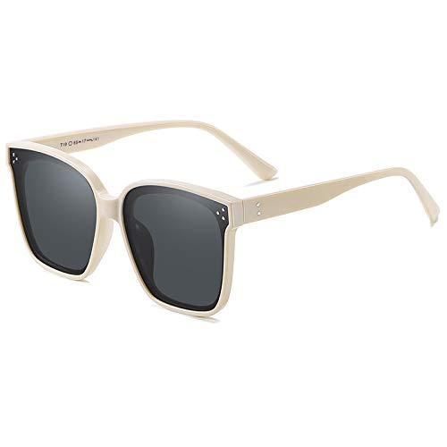 QINGZHOU Gafas De Sol,Gafas De Sol Polarizadas Para Mujer De Moda Conducción Protección Especial Uv Gafas De Sol Clásicas De Moda, Película Beige/Gris T19