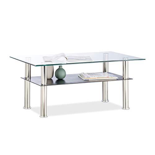 Relaxdays Couchtisch Glas, 2 Ablagen, niedrig, transparente Tischplatte, Edelstahlbeine, 100 x 60 x 43 cm, durchsichtig