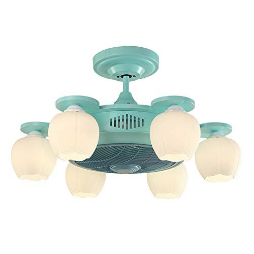 Moderne Steampunk industrie plafondlamp kopermateriaal met afstandsbediening negatief Ion onzichtbare plafondventilator voor kinderen slaapkamer woonkamer groen