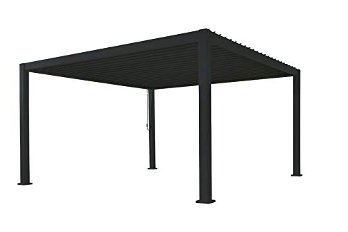 SORARA Mirador - Pérgola impermeable de 3 x 4 m - Pérgola con techo de láminas - Techo para terraza de aluminio - Negro