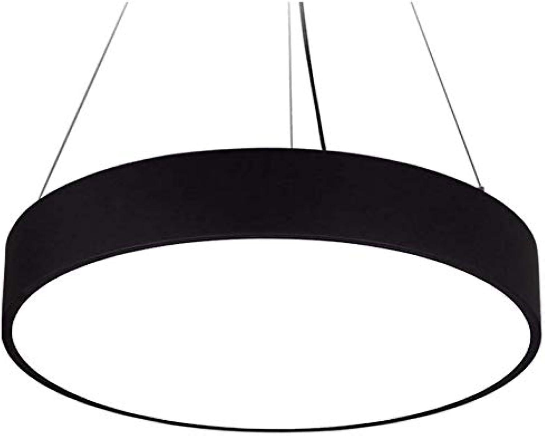 Led Unterbauleuchte Lichtleiste Deckenlampependelleuchte Kronleuchter Restaurant Licht Runde Led Einfache Beleuchtung schwarz50CmWeiß Licht Led