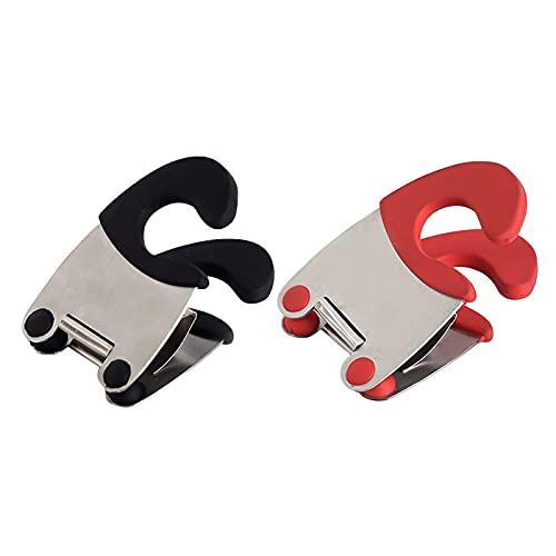 Topfseiten-Clip Löffelhalter Silikon + Edelstahl Anti Verbrühung Rest Grip Topf Clip Anti-Rutsch Hohe Temperatur Topf Clip Küche Werkzeug für Küche Restaurant Kochutensilien Spatel Pfanne