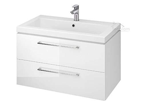 ECOLAM Badmöbel Waschtisch Waschbecken Como 60/80 / 100 cm + Schrank Lara Waschbecken mit Unterschrank 2 Schubladen weiß glänzend (80 cm)