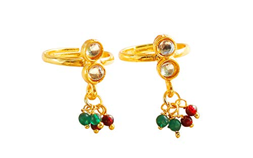 Touchstone Indian Bollywood Pure Traditional Kundan Look Beads Designer Jewelry Toe Rings In Gold Tone For Women.