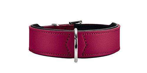 HUNTER BASIC Hundehalsband, beschichtetes Spaltleder, Kunstleder, schlicht, robust, witterungsbeständig, 50 (S-M), himbeer