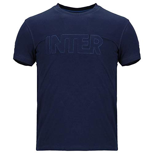 Inter Camiseta de Hombre con Cuello Redondo y Manga Corta de Punto...