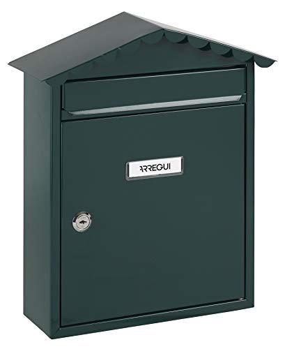 Arregui Visit E5743 Buzón Individual de Acero, tamaño M (DIN A4), Verde, 360 x 300 x 110 mm
