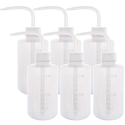 SUPERLELE 6pcs LDPE 250ml 8.5oz Safety Wash Bottle, Plastic Squeeze Bottle Squirt Bottle Medical Label Tattoo Wash Bottle