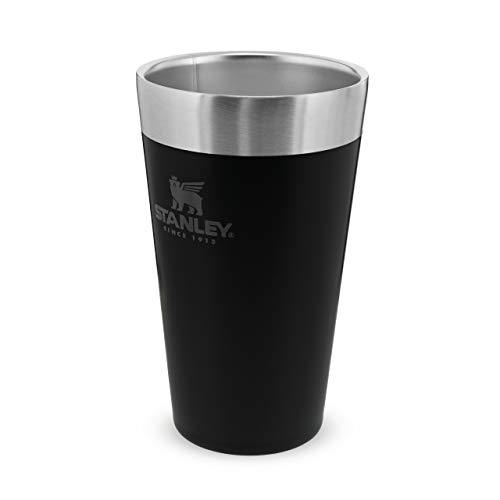 Stanley Adventure Stacking Beer Edelstahlbecher hält 4 Stunden kalt, | BPA-frei |Stapelbare | Doppelwandiger, vakuumisolierter Pint-Becher | Spülmaschinenfest, Matte Black, 473 ml