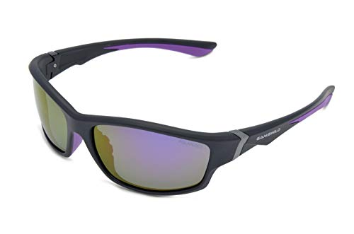 Gamswild Sonnenbrille WS6036 Sportbrille Skibrille Fahrradbrille Damen Herren Unisex | blau | lila | rot, Farbe: Schwarz/Lila