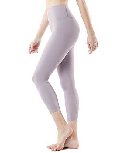 TSLA Yoga Leggings mit Bauch-Kontrolle und hoher Taille für Workout Capri-Pants mit Taschen für Damen, Fyc62 1pack - Beige, M