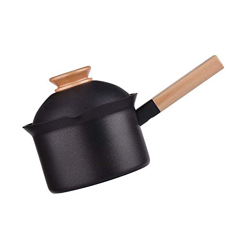 MUBAY Healthy Pot Cooking Pot Casseroles Classic Aluminum Alloy Saucepan with Wooden Handle, Soup Pot Nonstick Saucepan Hot Milk Porridge One Person with Small Pot Home Gifts