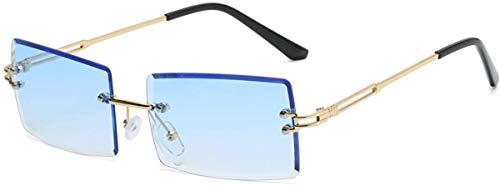YOJUED Vintage Randlose Sonnenbrille für Damen und Herren Mode Retro Rechteck Brille UV400 Schutz (8-Blau)