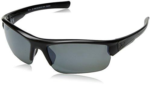 Under Armour Unisex Sonnenbrille, UA Propel Storm Shiny Black/Black Frame/Grey Polarized/Silver Mirror Lens, 68 mm
