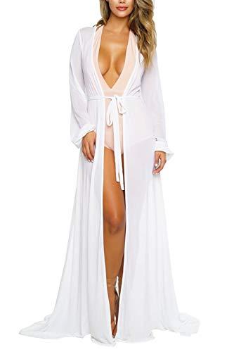 Viottiset Damen Strandkleid Bikini Cover Up mit Lange Ärmel Sommer Bademode Strand Shirt XXL Weiß