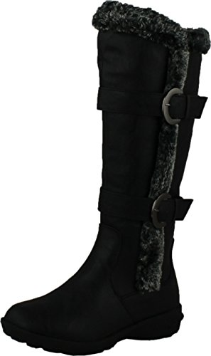 Forever Aura-43 Womens Double Straps Knee High Boots Winter Boots,Black,8