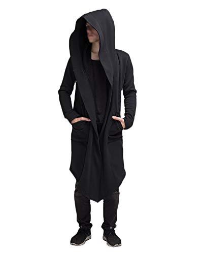 DianShaoA Punk Jacke Steampunk Gothic Mit Kapuze Langarm Retro Mittellang Mantel Kostüm Cosplay Uniform Für Männer Schwarz XL