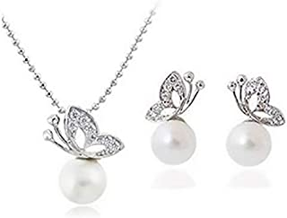 18K White Gold Plated Butterfly Pearl Necklace,Earrings (MM0053)