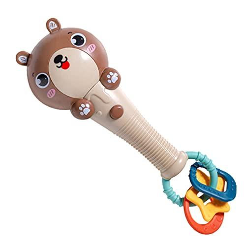 TOYANDONA Sonajeros Musicales para Bebés Sonajeros Unos Unos Palitos Animales de Dibujos Animados Juguetes de Sonajero LED para Bebés Cuna Asiento de Coche Juguetes para Recién Nacidos