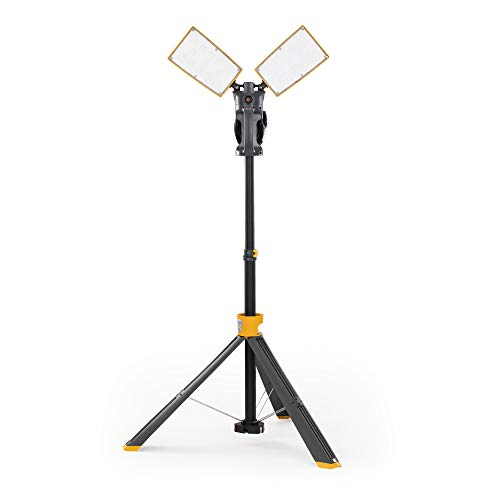 LUTEC 6290XL 7000 Lumen 93 Watt Dual-Head LED Work Light with Telescoping Tripod, Work Light with...