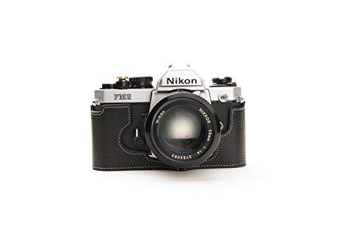 Zakao - Funda para Nikon FM2, hecha a mano, piel auténtica, con correa de mano, color negro