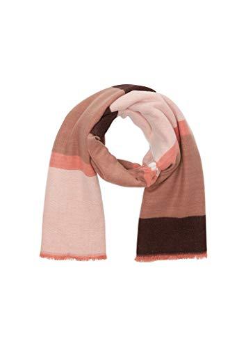 s.Oliver BLACK LABEL Damen Schal aus weicher Webware brown stripes 1