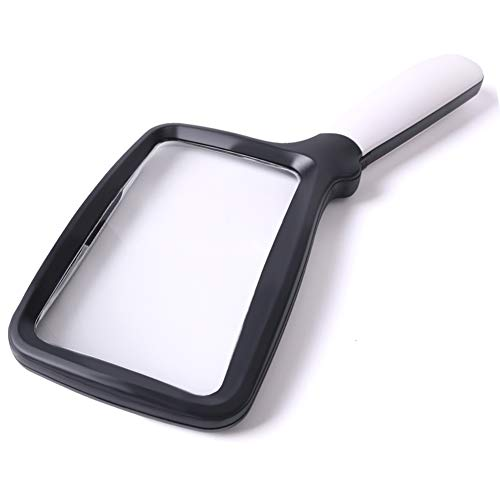 Large Hand Magnifying Glass Handheld Folding Reading Magnifier 3X Magnification with 5 Dimmable LEDs Ideal for Reading Small Prints, Book