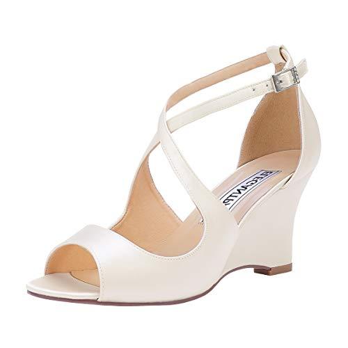 ElegantPark WP1923 Wedge Sandals for Women Peep Toe Wedding Sandals for Bride Bridesmaids High Heel Sandals Cross Strappy Satin Wedding Bridal Shoes Ivory US 8.5