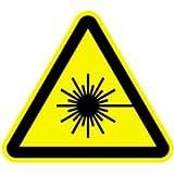 Schild Warnung vor Laserstrahl gemäß ASR A1.3 / DIN 7010, Alu 10 cm (Warnschild, Laserstrahlung) wetterfest