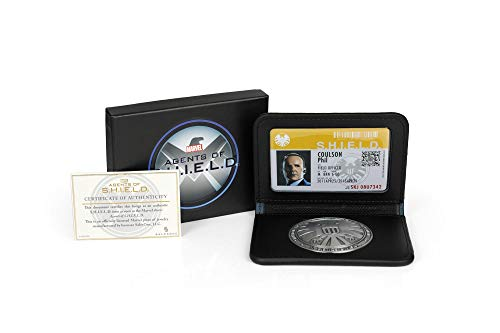 Toynk Marvel Agents of S.H.I.E.L.D. Agent Coulson Badge ID Card Replica Set | Exclusive Marvel Collectible Wallet | Black Leather Measures 4 Inches