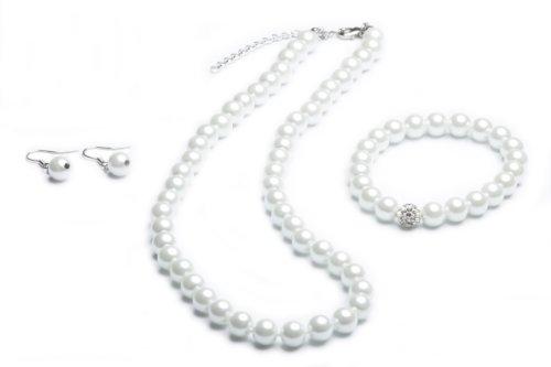 FlexiStore Collana di Perle - Braccialetto - Orecchini - Set di Gioielli - Bianco