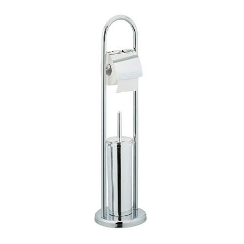 Relaxdays Stand WC Garnitur, Toilettenpapierhalter, Bürstenhalter, Klopapierständer freistehend, HxD: 74 x 19 cm, silber