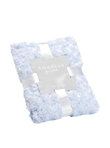Plaid Petite Rose, de couleur bleue layette, Collection Les Petits, 100x75 cm, Amadeus