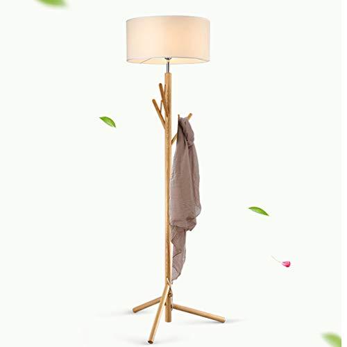 LIN HE SHOP staande lamp met kapstok Wood Art Landing Light 175 & 45 cm voor woonkamer, slaapkamer, hotel, werkkamer