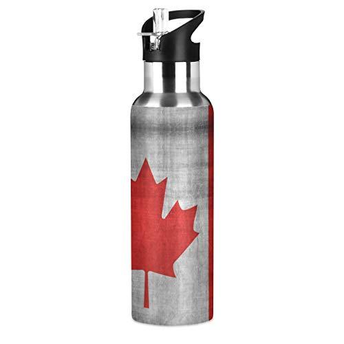 JUMBEAR Botella de agua con bandera canadiense Acuum aislada de acero inoxidable a prueba de fugas de boca ancha con tapa de paja para fitness, gimnasio y deportes al aire libre