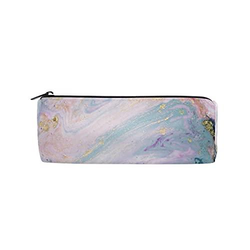 HaJie Estuche para lápices con textura de mármol líquido con venas y cremallera, bolsa organizadora de papelería, para niñas, niños, mujeres, hombres