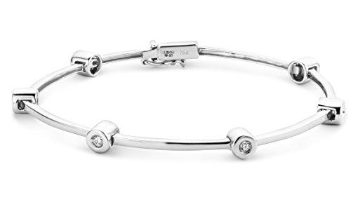 Miore Armband Damen 0.23 Ct Diamant Armreif aus Weißgold 18 Karat / 750 Gold, Armschmuck mit Diamanten Brillianten 18.5 cm lang