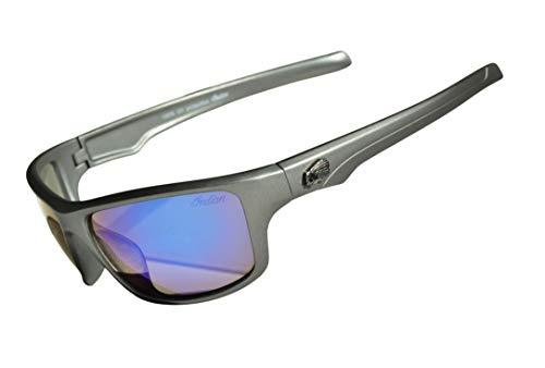 Indian Sunglasses Mens motocicleta bicicleta conducción 100% UV400 protección azul resistente a los impactos lente gris marco deportivo categoría 3 (tinte oscuro)