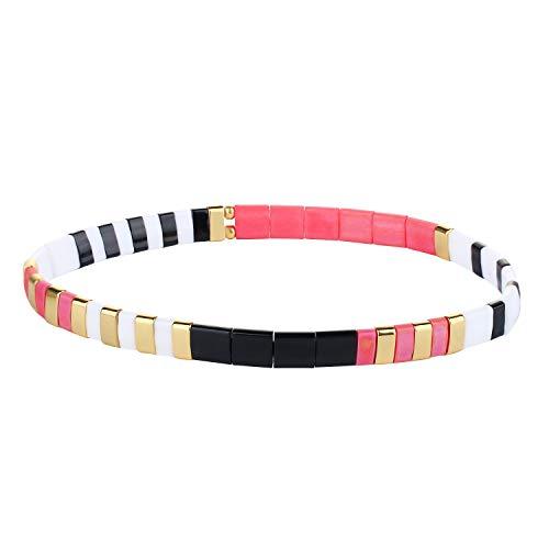 KELITCH Colorful Tila Beads Bracelets Miyuki Stackable Strand Stretch Bracelets Mixed Friendship Bracelets - 9E