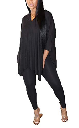 Womens Sexy Two Piece Outfits Oversized V Neck Long Sleeve Tunic Top and Skinny Leggings