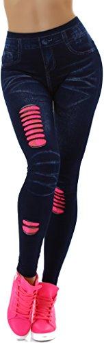 SL1 Damen Jeggings Leggins Print Bedruckt Jeans-Optik Hoher Bund High-Waist Netz-Optik Spitze, Blau-Pink