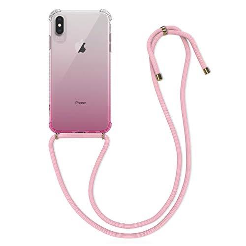 kwmobile Funda con Cuerda Compatible con Apple iPhone XS MAX - Carcasa de TPU con Colgante Bicolor Rosa Fucsia/Transparente