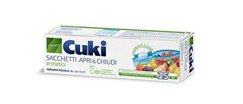 Cuki Sacchetti per Alimenti Apri&Chiudi Ermetici Piccoli, 15 Pezzi - 1L - 20 x 15 cm, Plastica, Trasparente,