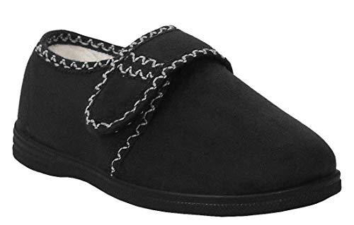Cushion Walk Womens Ladies Touch Fasten Warm Fleece Lined Winter Slippers UK 4-8 (7 UK, Black)