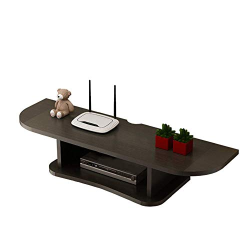 Wap Flotante Consola para Tv, 2 Pared Tier Tv Montada en Estante Flotante Media Console para Cajas de Cable Routers Mandos a Distancia Reproductor de Dvd Consolas-Negro 60Cm (24 Pulgadas) / Negr