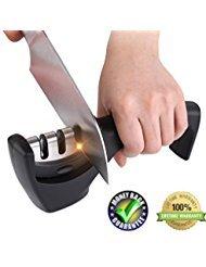 Kitchen knife sharpner set steel diamond,ceramic sharpeners kit tool for handheld portable...
