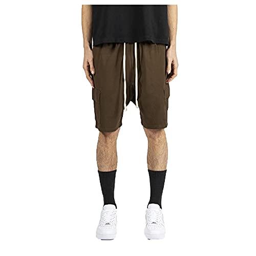 SGSD Verano ocio al aire libre puro color con cordones ajustables monos cortos, pantalones cortos, pantalones cortos, adecuados para deportes de interior y exterior. caqui XL