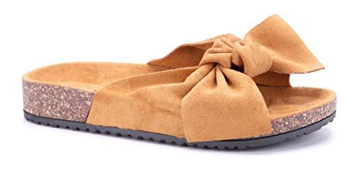 Schuhtempel24 Damen Schuhe Pantoletten Sandalen Sandaletten Camel flach Zierschleife