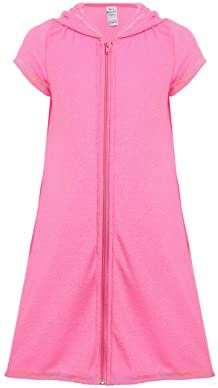 iDrawl Girls Cover ups Swimsuit Beach Dress Top Short Sleeves Hooded Swimming Cover Up Pink product image